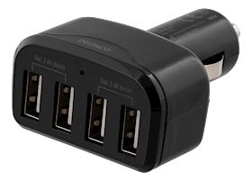 DELTACO 12-24V 4.8A DC/DC USB